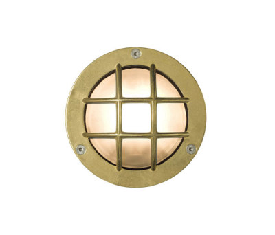 8038 Miniature Exterior Bulkhead, Cross Guard, G9, Brass by Davey Lighting Limited