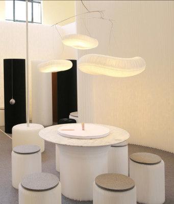 cantilever table circular top   white textile by molo