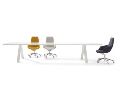 Cross Table by Arper White Lacquered Steel, 390 x 135 cm.