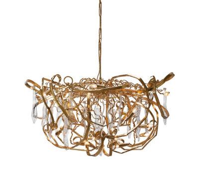 Delphinium customised gold chandelier by Brand van Egmond