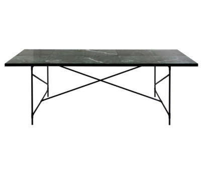 Dining Table 230 BLACK on BLACK - Green Marble by HANDVÄRK