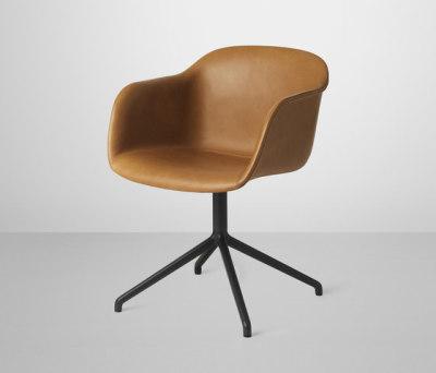 Fiber Armchair | swivel base leather by Muuto