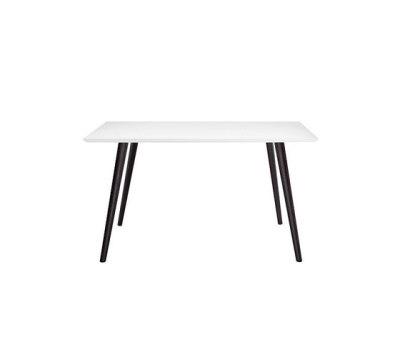 Gher h74 Square top by Arper Black Legs, MDF MD cm 140x140 White Top