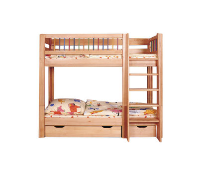 Kubu bunk bed with both upper and lower railing by De Breuyn