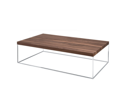 Oliver   670 Rectangular Coffee Table Canaletto Walnut Brushed Top, Chromium-plated Frame, 80 x 140