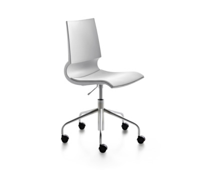 Ricciolina swivel base with wheels and gas lift with seat cushion by Maxdesign