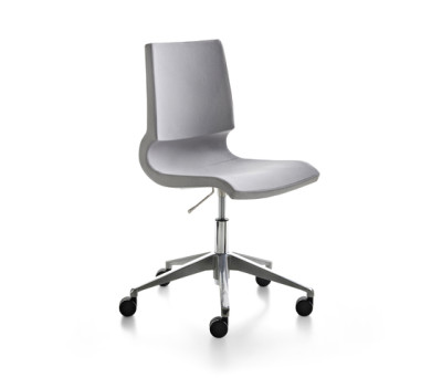 Ricciolina_swivel base with wheels and gas lift with pair of cushions for seat + back by Maxdesign