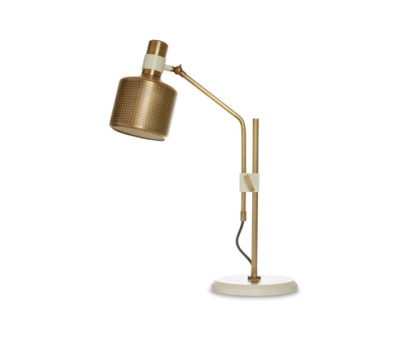 Riddle Table Lamp Single White & Brass by Bert Frank