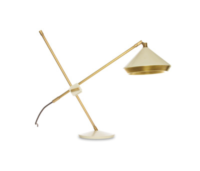 Shear Table Lamp White & Brass by Bert Frank