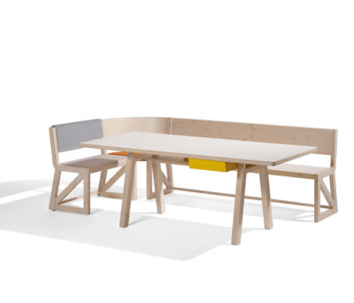 Stijl cornerbench amd table by Lampert