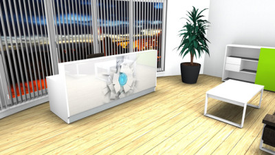 White Linea reception desk with graphic by MDD