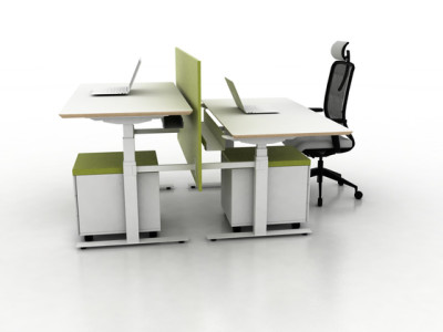X-Ray Two-seat office desk by Ergolain