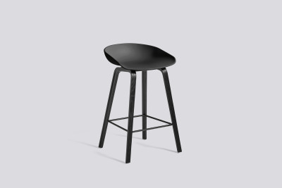 About A Stool AAS32 Black Stained Oak Base, Black Seat, Low