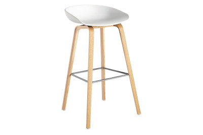 About A Stool AAS32 Clear Lacquered Oak Base, White Seat, High