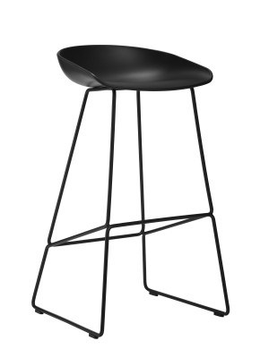 About A Stool AAS38 White Seat and Black Base, High