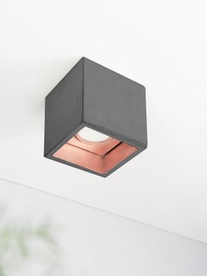 [B7] Ceiling Spot Cubic Dark Grey Concrete, Copper Plating
