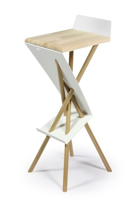 "Bar stool ""Bar Stuhl"" Beech wood seating (= natural) & Oiled oak wood legs (= natural)"
