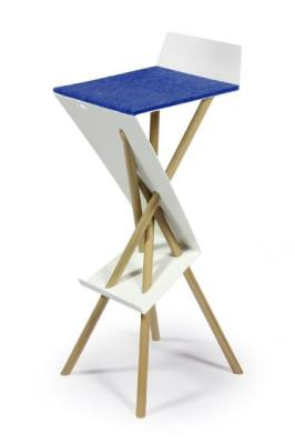 "Bar stool ""Bar Stuhl"" Blue wool felt & black beech wood legs"