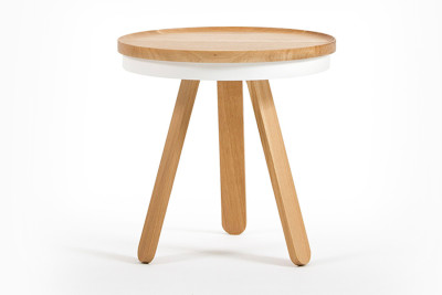 Batea Side Table/Serving Tray Oak & White