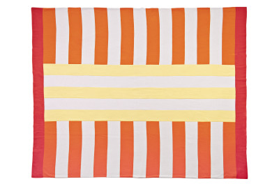 Beach Towel Effect Wool Blanket Red, White, Orange & Yellow