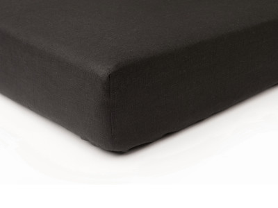 Black linen fitted sheet Single