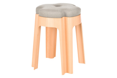 Bloom Upholstered Stool Light Grey