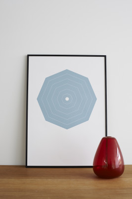 Blue Octagon Screen Print Blue, With Frame