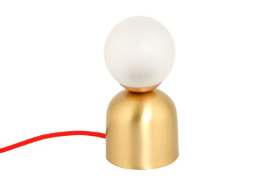 Bonbon Table Lamp Brass with Red Cable