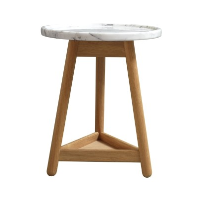 Carve Side Table Oak Base, White Top