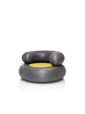 CH-AIR Armchair Anthracite with Yellow Pillow
