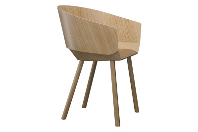CH04 Houdini Dining Chair with Armrests Lacquered Oak Veneer