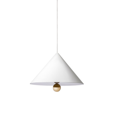 Cherry Wide Pendant Light White and Gold