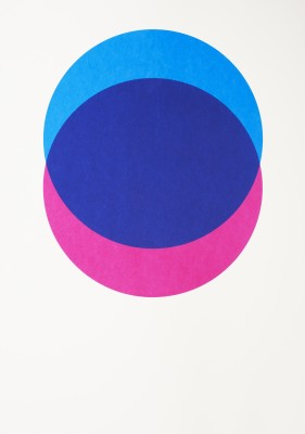 Circles Screen Print Blue & Pink, With Frame