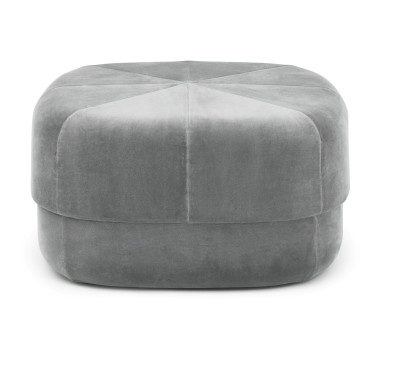 Circus Velour Large Pouf Grey