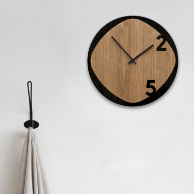 Clock25 black / wood