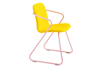 Cobra Upholstered Dining Chair Yellow and Pink