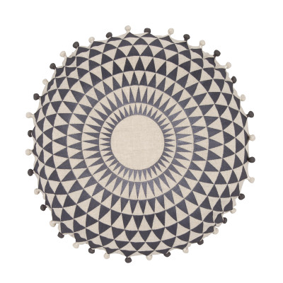 Concentric Cushion Slate & Natural Linen