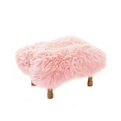 Delyth Sheepskin Footstool  Baby Pink