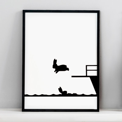 Diving Rabbit Screen Print Small