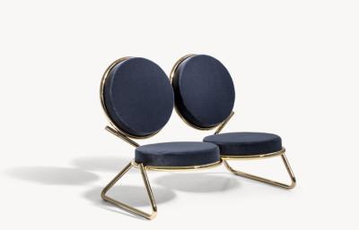 Double Zero Settee A4500 - Art.48045 - 206 beige, Shiny Black
