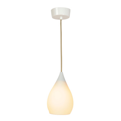 Drop One Pendant Light Natural White Gloss, Small