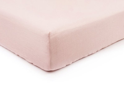 Dusty rose linen fitted sheet Single