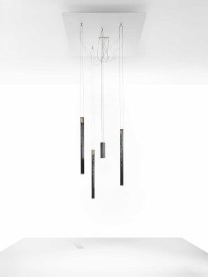 Flying Flame Chandelier Black, Small