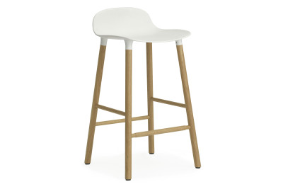 Form Bar Stool White & Oak - 65cm seat