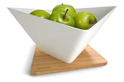 Forminimal Draining Fruit Bowl + Mat White