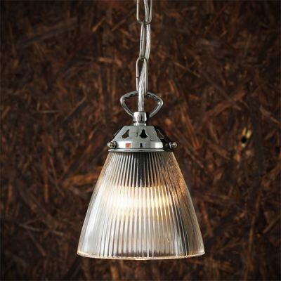 Gadar Glass Industrial Pendant  Polished Chrome