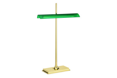 Goldman Table Lamp Brass Body, Green Diffuser