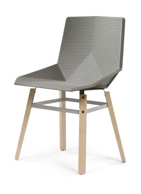 Green Eco Wooden Dining Chair Gris Beige Seat