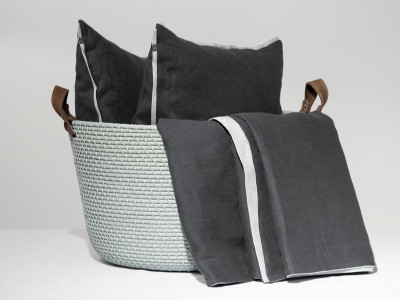 Grey linen cushion Trimmed 40x40cm