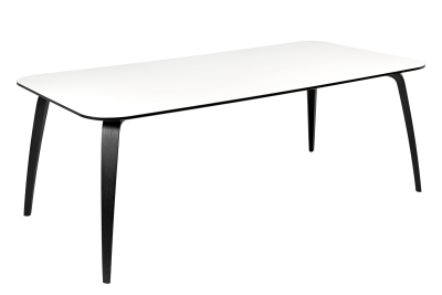 Gubi Rectangular Dining Table White Laminate Top and Black Ash Legs